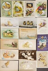 Lot Of 17 Antique Easter Post Cards W/ Easter Chickens Bunny - 1909-19- Embossed