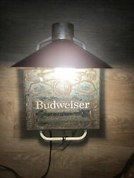 Rare Budweiser King Of Beers Wall Mounted Light With Red Shade And Golden Label