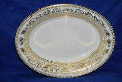 Wedgwood Gold Florentine White W4219 Oval Serving Bowl, 10 1/8