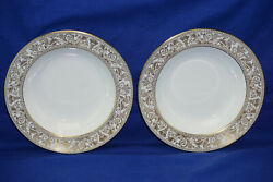 Wedgwood Gold Florentine White W4219 2 Rimmed Soup Bowls, 8