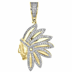 1/3 Ct Diamond Native American Indian 1.30 Mens Pave Charm 10k Yellow Gold Real