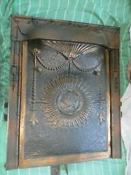 Antique Victorian Cast Iron And Tin Fireplace Cover And Surround