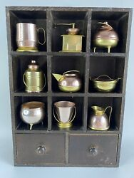 Vintage Wooden Toy Kitchen Cookware Display Unit Copper Cookware Wall Hanging