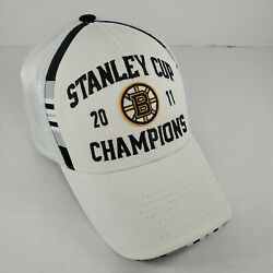 Boston Bruins Reebok 2011 Nhl Stanley Cup Champions Player On Ice Hat White Cap