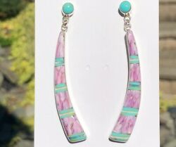 Oh Dang 3 Fire Opal Turquoise Long Earrings Sterling Stunning Frames The Face