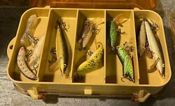 Vtg Plano 3213 Mini Magnum 2 Sided Fishing Tackle Box With Great Lures