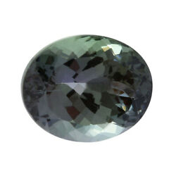 Igi Certified Loose Gemstone Green Tanzanite Faceted Oval 13.24x10.62 Cttw 8.07