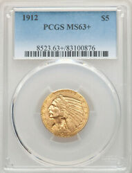 1912 Gold 5 Ms-63+ Lovely Pcgs Plus Grade Gold Half Eagle
