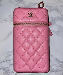 Pink Caviar Quilted Phone Holder With Chain