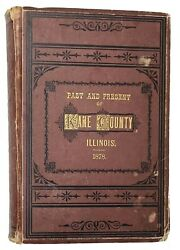 1878 Kane County Illinois History Genealogy With Hand Colored Map