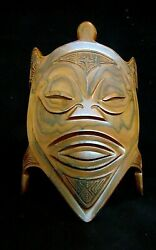Vintage Wooden Hand Carved African/tiki/polynesian Wall Mask 9x13