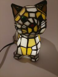 And Co Stained Glass Cat Lamp Rare W/bulb