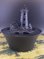 Vintage Cast Iron Light House Stove Top Humidifier Steamer Wood Stove W/box Nos