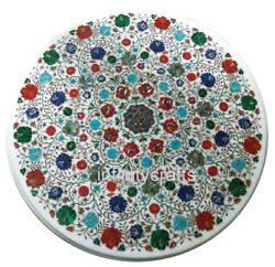 Marble Coffee Table Top Inlay Multi Color Gemstones Patio Table For Lawn 30 Inch