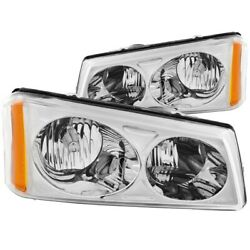 111010 Anzo Headlight Lamp Driver And Passenger Side New For Chevy Avalanche Lh Rh