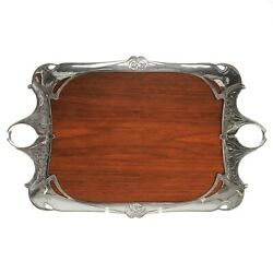1900 - 1915 Antique French Silver Plated Tray Art Nouveau Style