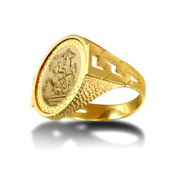 Jewelco London 9ct Gold Curb Links Snake Skin St George Ring Half Sov Size