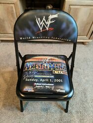 Wwf Wwe 2001 Wrestlemania X-seven 17 Authentic Ringside Chair W/ Autographs Used