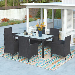 7pcs Outdoor Rattan Wicker Dining Set Table Chair Set Patio Furniture Chat Seat