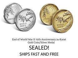 End Of World War Ii 75th Anniversary 24-karat Gold Coin 20xg And Silver Medal 20xh