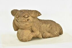 Large Antique Chinese Wood Carved Statue / Sculpture Of Fu Foo Dog Lion, 18th C