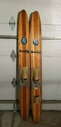 Vintage Cypress Gardens Water Skis 64andrdquo Wood Water Express Decor Man Cave