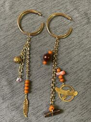 Native American Handmade Long Beaded Earrings Hoops Gold And Earth Tones Womenandrsquos