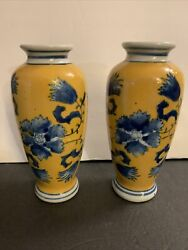 Pair Of Antique Porcelain Vases Minton Yellow And Blue 3 Dots Makers Mark