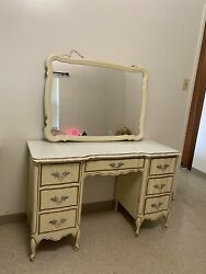 Vintage Dixie Vanity Desk With Mirror French Provincial