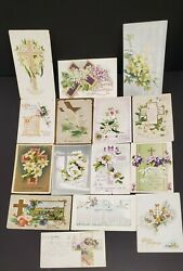 Lot Of 15 Antique Easter Post Cards With The Cross / Flowers - 1909-21- Embossed