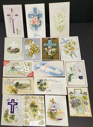 Lot Of 16 Antique Easter Post Cards With The Cross / Flowers - 1908-25- Embossed