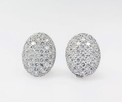 2.10ct Natural Round Diamond 14k Solid White Gold Omega Back Stud Earring
