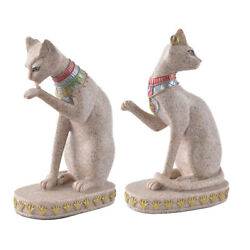 2x Sandstone Egyptian Mau Cat Statue Sculpture Collectibles Figurines Gift