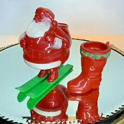 Candy Containers Vintage Ornament Christmas Santa Skis Boot Lot 2 N1