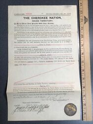I919 Original Cherokee Nation Indian Territory Deed Signed By Chief Rogers