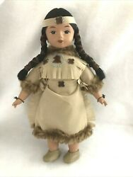 Vintage Native American Doll Sandy Bisque And Cloth Suede And Fur Original Outfit D2