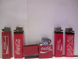 5 Lighters With The Coca Cola Logo And A Key Ring. Metal Escort Lighter