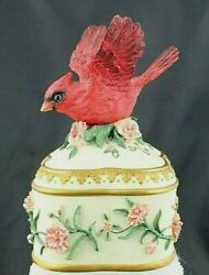 Heritage House Sing A Song Series Music Jewelry Trinket Box With Red Cardinal