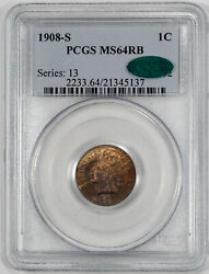 1908 S Indian Head Cent Penny 1c Pcgs And Cac Ms 64 Rb Mint Unc - Red Brown 137