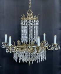 Antique Vintage French Victorian Brass Crystal Beaded Chandelier 9 Light Lustres