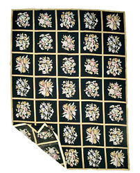 Handmade Vintage Authentic French Aubusson Tapestry Black Floral Wool Rug 10x14andrsquo
