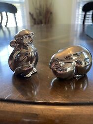 Vintage Dansk Silverplate Monkey And Bunny Figurines/ Paperweight