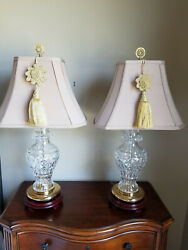Waterford Crystal Kingsley 29 Tall Crystal And Brass Table Lamp Pair - Excellent