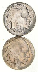 Lot 2 1935-d And S Indian Head Buffalo Nickels 2735
