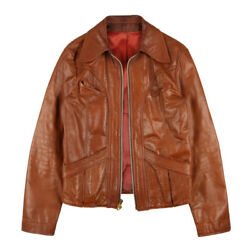 East West Drifter Craft Leather Jacket Ykk Zipper Brown Menand039s 40 70s Vintage
