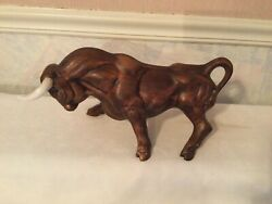 Vintage Bull figurine Wall Street fighting Masculine stance Ceramic 14 Inches