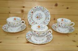 Spode Shanghai 3 Cups And 4 Saucers   Bone China   England   Discontinued