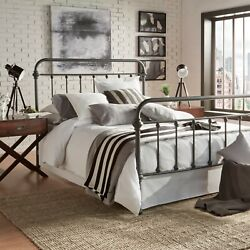 Queen Bed Frame Farmhouse Chic Victorian Rustic Country Style Gray New