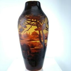 C1910 St Louis D'argental French Scenic Cameo Glass Vase With Shepherd Scene 11.