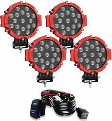 4x 7inch 51w Red Slim Led Work Light Pods Bull Bar Driving Offroad Suv Atv Round